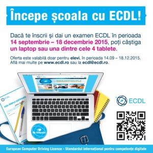 proba. Toţi elevii din învăţământul preuniversitar din România, care, în perioada 14 septembrie – 18 decembrie 2015, intenţionează să îşi certifice competenţele de utilizare a computerului prin Permisul ECDL, intră automat în cursa pentru câştigarea unui laptop sau a uneia dintre cele 4 tablete puse în joc.