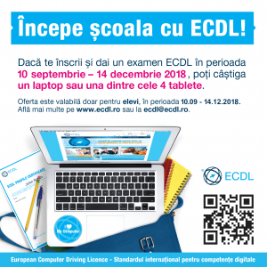 back to school, scoala, elevi, profesori, ECDL, computer, calculatoare, competente digitale, aptitudini, IT, IT&C, concurs, concurs ECDL, tombola, laptop, tablete, premii, castig, tineri, nativ digital, invatare, clasa, Incepe scoala, Incepe scoala cu ECDL, An scolar, An scolar 2018-2019, inceput an scolar, 10 septembrie