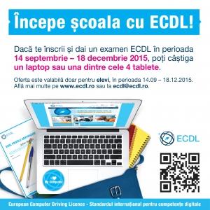incepe scoala cu ecdl. concurs, scoala, elevi, liceeni, ECDL, laptop, competente digitale, IT, BAC, Bacalaureat, tableta
