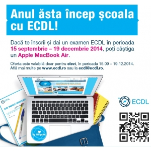 ecdl profil bac. concurs, scoala, elevi, liceeni, ECDL, Apple, Macbook, competente digitale, IT, BAC, Bacalaureat