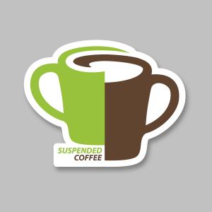 suspended coffee. Sticker care semnalizează implicarea unui local în campanie.