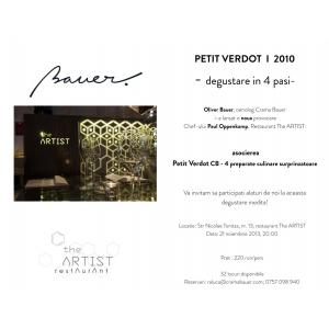 "Restaurant the ARTIST si Crama Bauer lanseaza al doilea eveniment de ""food pairing""."