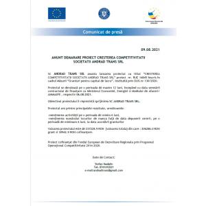 """Anunț privind începerea derulării proiectului """"Măsura 2 –GRANTURI PENTRU CAPITAL DE LUCRU"""" de catre ANDRAD TRANS SRL"""