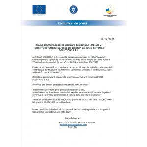 """Anunț privind începerea derulării proiectului """"Măsura 2 –GRANTURI PENTRU CAPITAL DE LUCRU"""" de catre ANTOMAR SOLUTIONS S.R.L."""