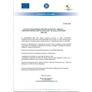 """Anunț privind începerea derulării proiectului """"Măsura 2 –GRANTURI PENTRU CAPITAL DE LUCRU"""" de catre AUTOTRANS R&V SRL"""
