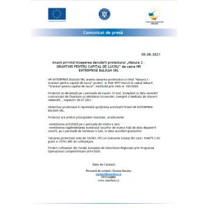 """Anunț privind începerea derulării proiectului """"Măsura 2 –GRANTURI PENTRU CAPITAL DE LUCRU"""" de catre HR ENTERPRISE BALKAN SRL"""
