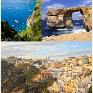 insule meditarana. Insula Capri, Insula Gozo si Insula Santorini