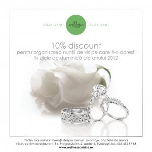10% discount pentru organizarea nuntii de vis pe care ti-o doresti