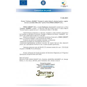 """Finalizare proiect """"Culinary JOURNEY"""" finanțat în cadrul măsurii """"Granturi pentru  capital de lucru acordate IMM-urilor"""" pentru firma WINGS CONCEPT S.R.L."""
