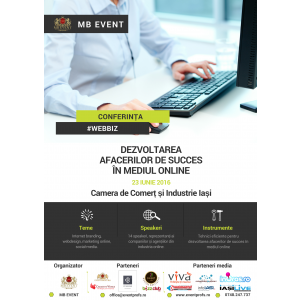 eveniment de dezvoltare. Afiș Conferința #WebBiz Iași 2016