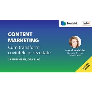 """content. Beans United lansează Webinarul Gratuit """"Content Marketing: Cum Transformi Cuvintele în Rezultate"""""""