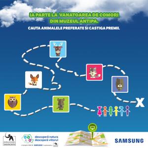 """treasure hunt. Samsung Electronics România și Muzeul Național de Istorie Naturală """"Grigore Antipa"""" invită copiii la """"treasure hunt"""" digital acest week-end"""