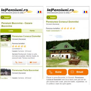 tablet. Exemplu versiune mobile lapensiuni.ro