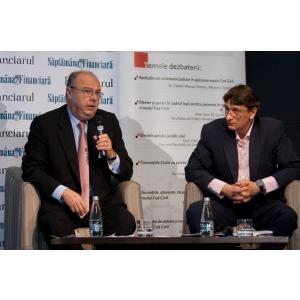 Cum va schiomba noul cod civil regulile in afaceri. Moderatorii evenimentului Calin-Andrei Zamfirescu, Senior Partner ZRP si Razvan Mitroi, Fin.Ro Magazin