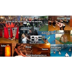 aquagym. Peste 20 de tipuri de clase de aerobic, fitness si bodybuilding, inot, aquagym, masaj, sauna, solar, activitati sportive copii.