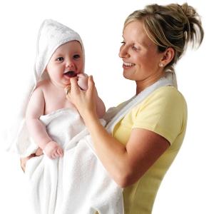 Prosop de baie pentru bebelusi si mama Clevamama