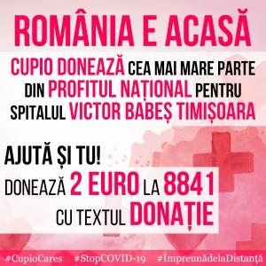 """România e Acasă. Cupio susține Spitalul de Boli Infecțioase """"Victor Babeș"""" Timișoara"""