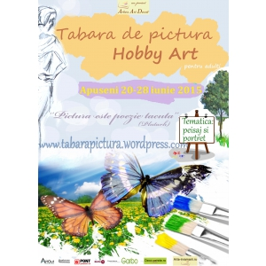 apuseni. Afisul taberei de pictura Hobby Art pentru amatori din Apuseni- iunie 2015