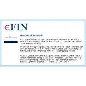 efin ro. Utilizatorii eFin.ro beneficiaza de expertiza Casei de Avocatura Bostina si Asociatii