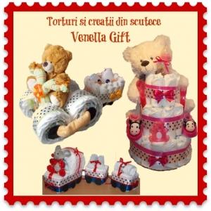 cadouri maternitate. Torturi si creatii din scutece marca Venella Gift