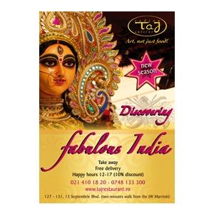 discover fabulous india. Discover Fabulous India la Taj Restaurant, Sambata 24 Martie, alaturi de Maestrul Sebastian Papaiani si Adelina Patrichi!
