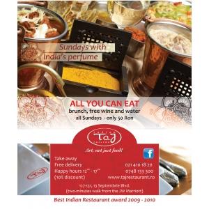 Brunch. Taj Restaurant va invita duminica la BRUNCH!