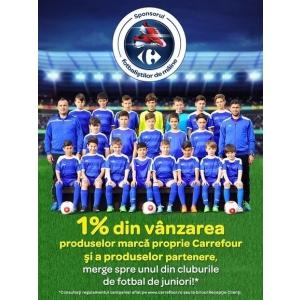 Carrefour redirecționează 1% din vânzarea produselor marcă proprie și a produselor partenere către 55 echipe de fotbal de juniori din țară!