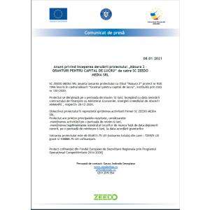 """Anunț privind începerea derulării proiectului """"Măsura 2 – GRANTURI PENTRU CAPITAL DE LUCRU"""" de catre SC ZEEDO MEDIA SRL"""