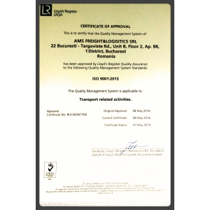 ams freight   logistics. AMS FREIGHT & LOGISTICS Certificare ISO 9001:2015