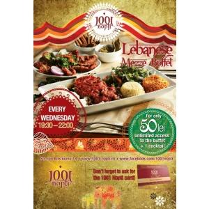 miercuri. Mezze Lebanese Buffet, in fiecare miercuri la 1001 nopti Restaurant & Lounge